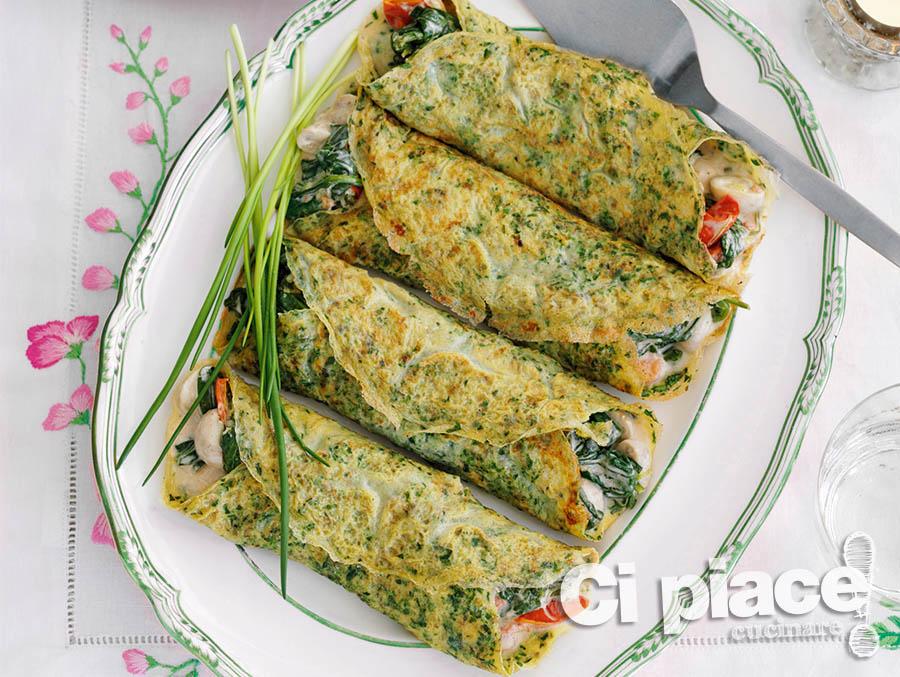 Cannelloni di crespelle con funghi e spinaci